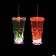 Light-Up Skull Tumblers with Straws & Lids
