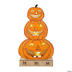 Lighted Stacked Pumpkins Tabletop Decoration