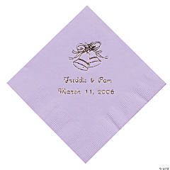 Lilac Wedding Bells Personalized Napkins with Gold Foil - Beverage
