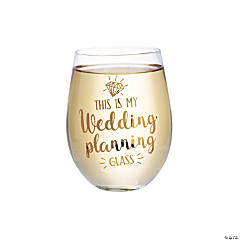 Lillian Rose™ Gold My Wedding Planning Stemless Wine Glass