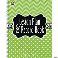 Lime Chevrons and Dots Lesson Plan & Record Book, Pack of 2 books