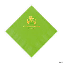 Lime Green Birthday Cake Personalized Napkins with Gold Foil - Luncheon
