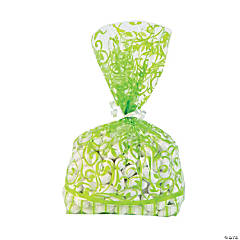 Lime Green Swirl Cellophane Bags