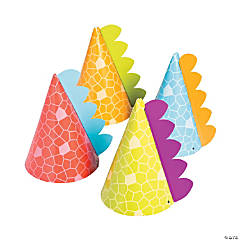 Little Dino Cone Party Hats Assortment - 8 Pc.