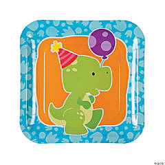Little Dino Paper Dinner Plates - 8 Ct.