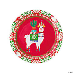 Llama Christmas Paper Plates - 8 Ct.