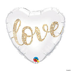 Love Glitter Heart-Shaped Mylar Balloon
