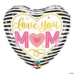 Love You Mom Striped Heart Balloon