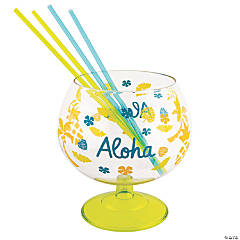 Luau Fishbowl Glass with Straws