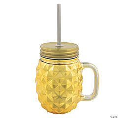 Luau Luxe Gold Pineapple Mason Jar with Lid and Straw