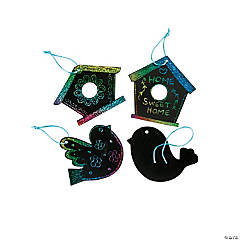 Magic Color Scratch Birdhouse Ornaments