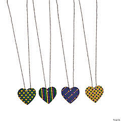 Mardi Gras Heart-Shaped Dog Tag Necklaces