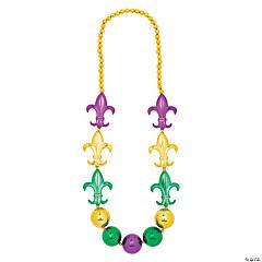 Mardi Gras Jumbo Fleur de Lis Charm Beaded Necklace