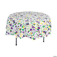 Mardi Gras Round Plastic Tablecloth