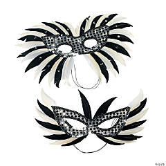 Mardi Gras Silver Feather Masks