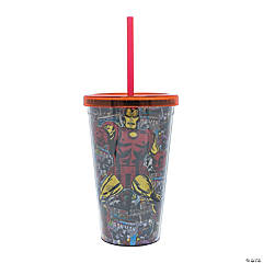 Marvel Iron Man Comic Cold Cups with Lids and Straws