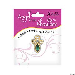 May Birthstone Angel On My Shoulder Pin