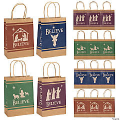 Medium Believe Holy Family Silhouette Kraft Paper Gift Bags