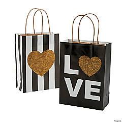 Medium Black & Gold Glitter Wedding Kraft Paper Gift Bags