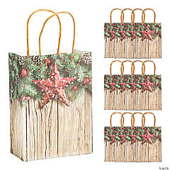 Medium Christmas Barnwood Kraft Paper Gift Bags