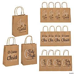 Medium Christmas Hymns Kraft Paper Gift Bags