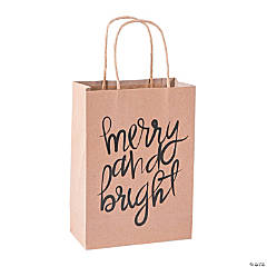 Medium Christmas Kraft Paper Gift Bags
