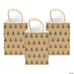 Medium Christmas Tree Kraft Paper Gift Bags