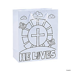 Medium Color Your Own He Lives Gift Bags