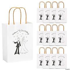 Medium Happy Couple Kraft Paper Gift Bags - 12 Pc.