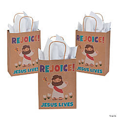 Medium He Lives Kraft Paper Gift Bags