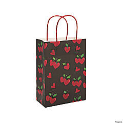 Medium Heart-Shaped Cherry Kraft Paper Bags