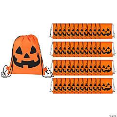 Medium Jack-O'-Lantern Drawstring Bags