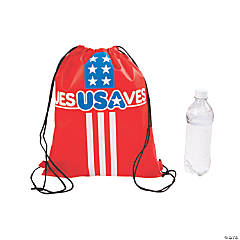 Medium Jesus Saves USA Drawstring Bags