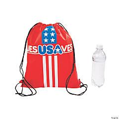 Medium Jesus Saves USA Drawstring Bags