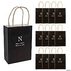 Medium Monogrammed Black Roman Kraft Paper Gift Bags
