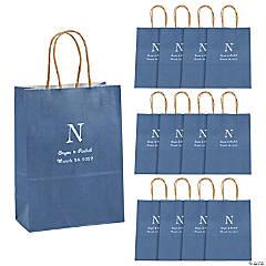 Medium Monogrammed Blue Roman Kraft Paper Gift Bags