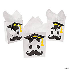 Medium Mustache Graduation Gift Bags with Tags