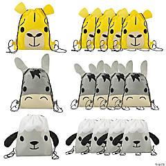 Medium Nativity Animal-Shaped Drawstring Bags