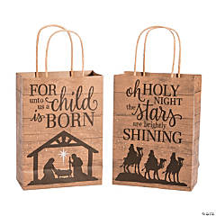 Medium Nativity Barnwood Print Kraft Paper Gift Bags