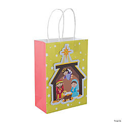 Medium Nativity Printed Cardstock Gift Bags