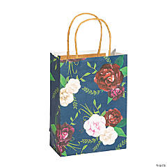 Medium Navy Floral Paper Gift Bags