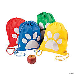 Medium Paw Print Drawstring Bags