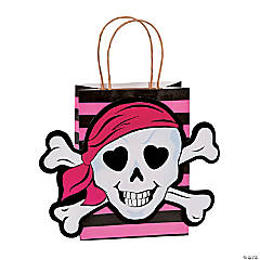 Medium Pink Pirate Kraft Paper Gift Bags