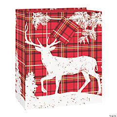 Medium Plaid Deer Christmas Gift Bag with Tag