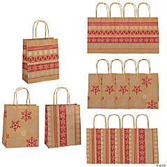 medium red white nordic print kraft paper gift bags