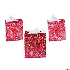 Medium Red Bandana Gift Bags with Tags