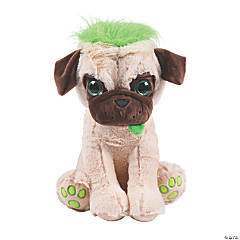 Medium Stuffed Pug with Crazy Hair - 1 Pc.