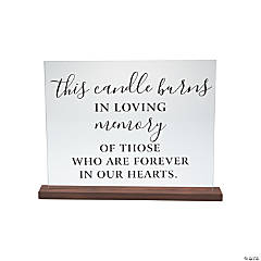Memorial Candle Sign with Wood Base