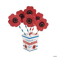 Memorial Day Straw Poppy Flower Bouquet Craft Kit