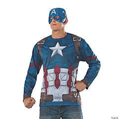 Men's Captain America: Civil War™ Captain America Halloween Costume Top & Mask - Extra Large